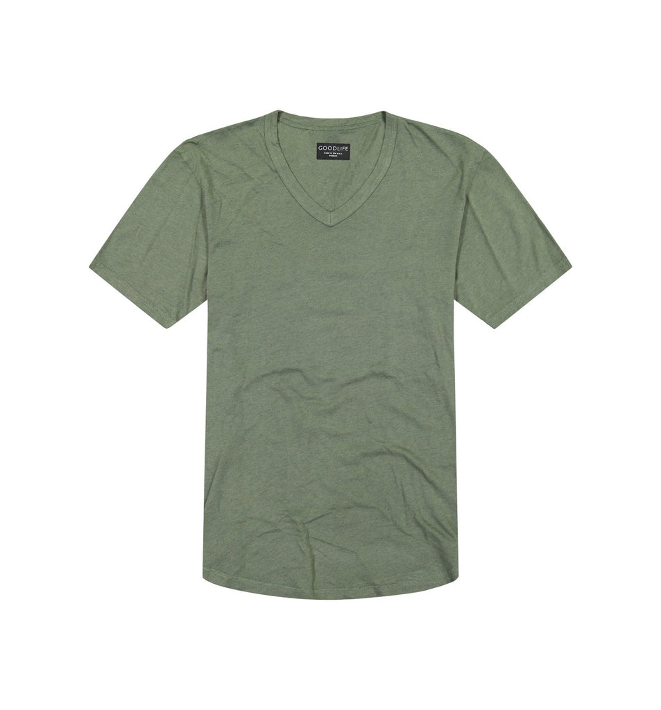 Overdyed Supima Scallop V | Laurel