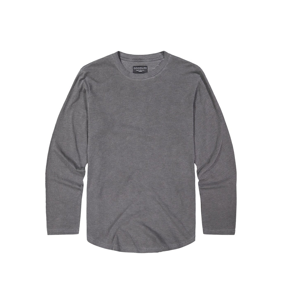 Sun-Faded Slub L/S Scallop Crew | Black