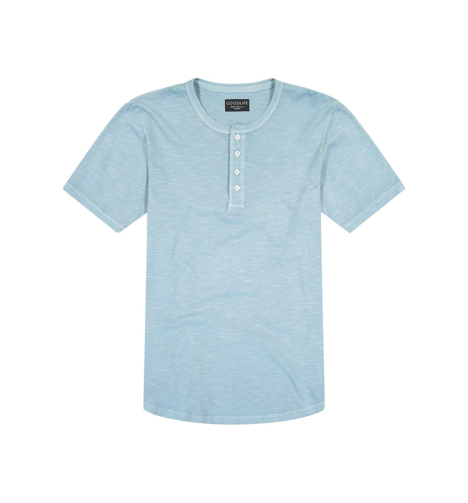 Sun-Faded Slub Scallop Henley | Cameo Blue