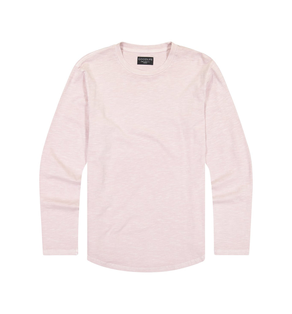 Sun-Faded Slub L/S Scallop Crew | Pale Mauve