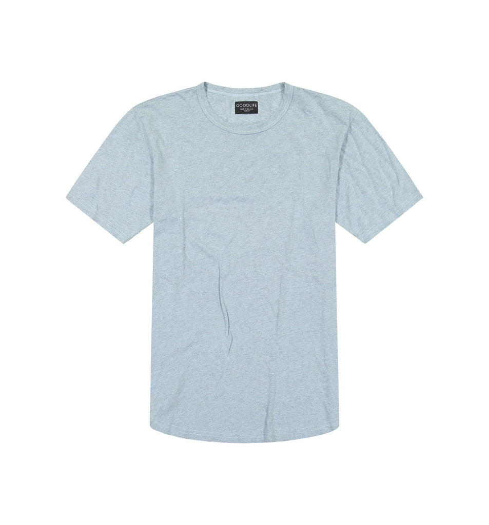 Overdyed Supima Scallop Crew | Cool Blue