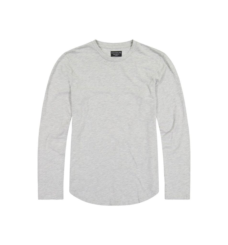 Slub L/S Scallop Crew | Lt Heather Grey