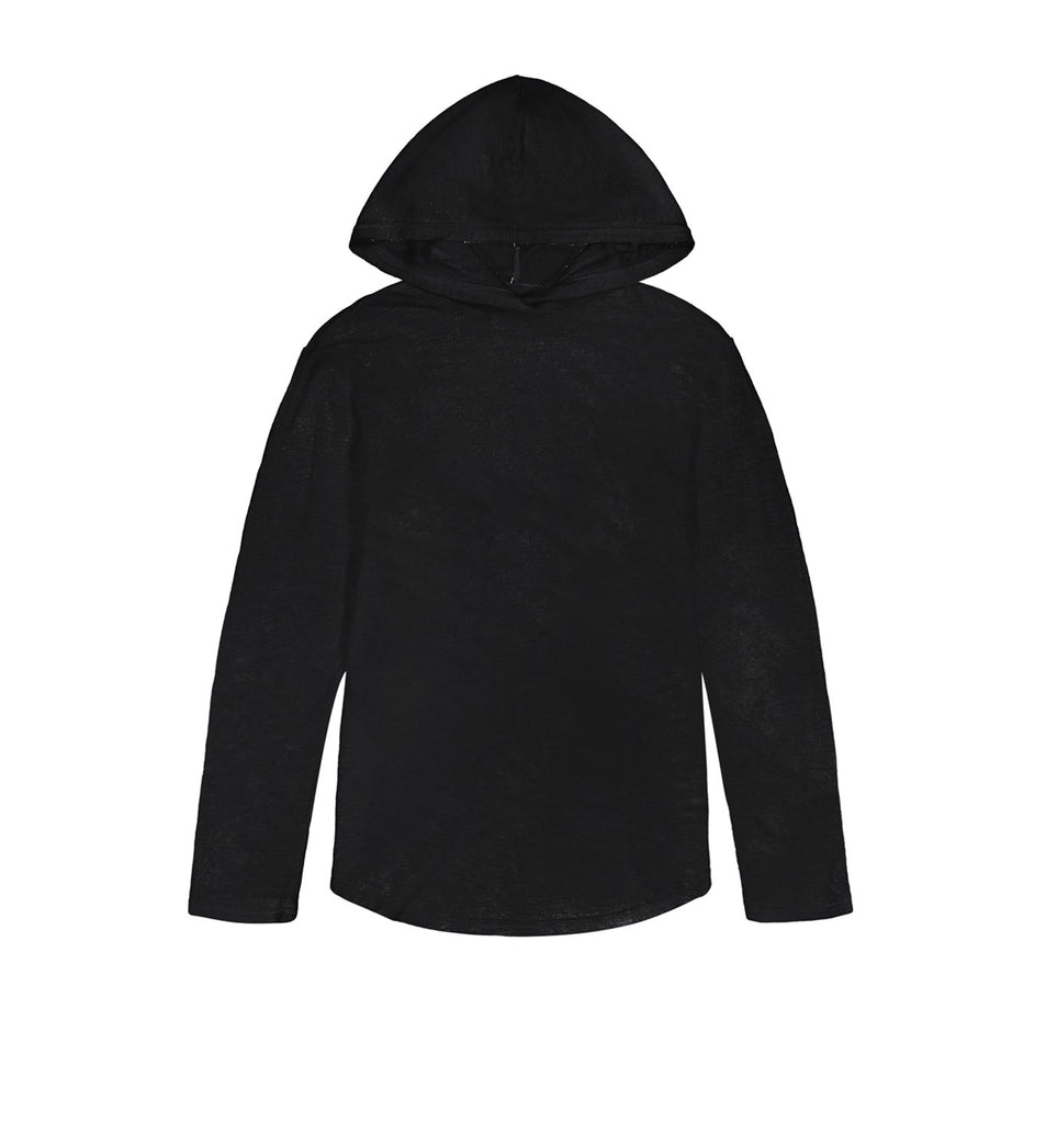 Double Layer L/S Scallop Hoody | Black