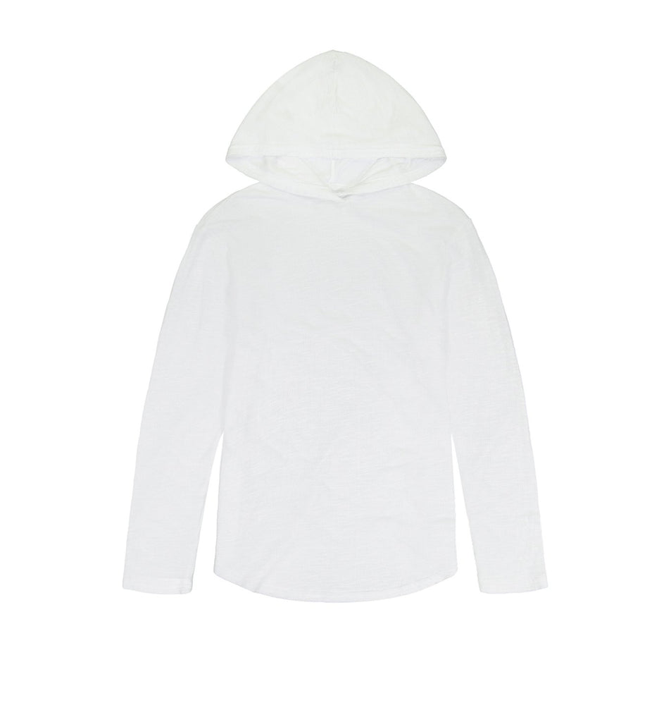 Double Layer L/S Scallop Hoody | White