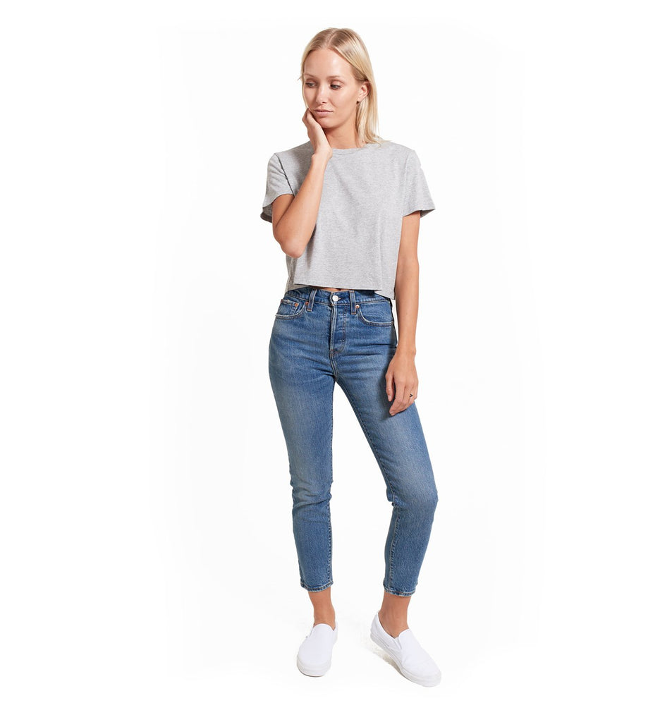 Supima Cropped Crew | Lt. Heather Grey