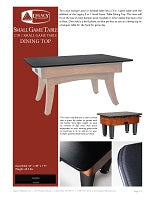 2 in 1 Small Game Table Dining Top Spec Sheet