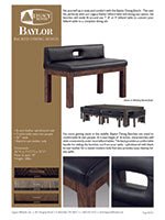 Baylor Backed Dining Bench Rustic Spec Sheet