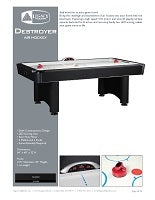 Destroyer Air Hockey Spec Sheet