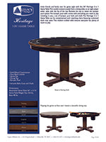 Heritage 3 in 1 Game Table Spec Sheet