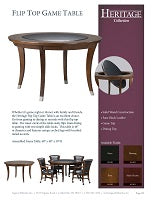 Heritage Flip Top Game Table Spec Sheet