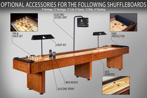 Elite 12 Ft Shuffleboard with 20 Inch Wide Playfield