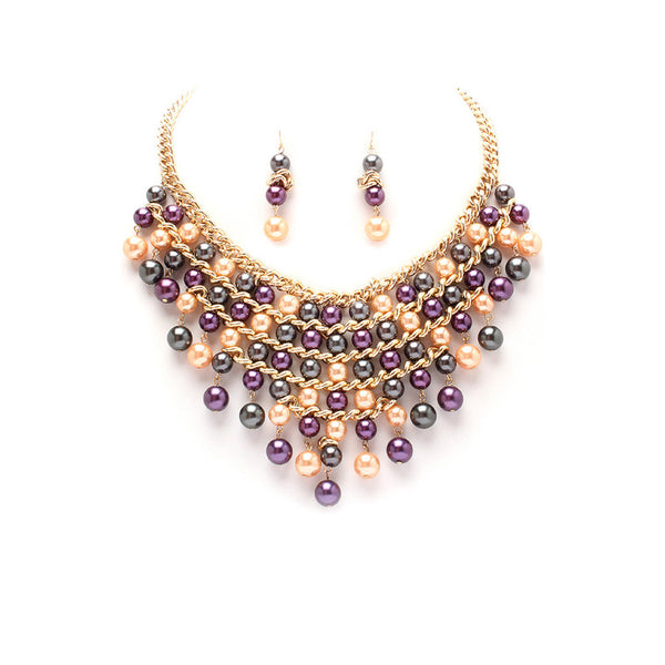 Multicolor Faux Pearl Statement Necklace Set