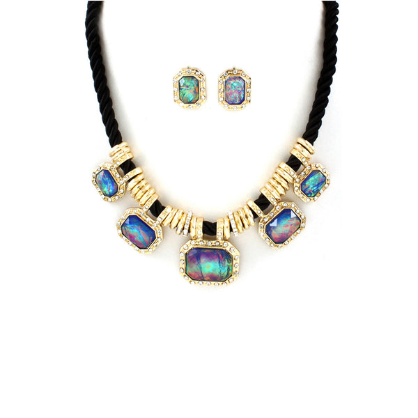 Mystic Rainbow Braided Statement Necklace Set