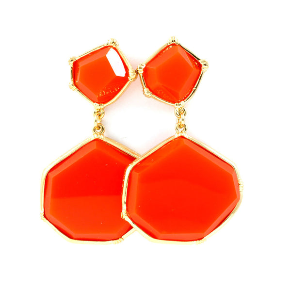 Bright Orange Stone Earrings