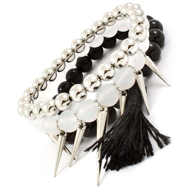 black and silver beaded bracelet set