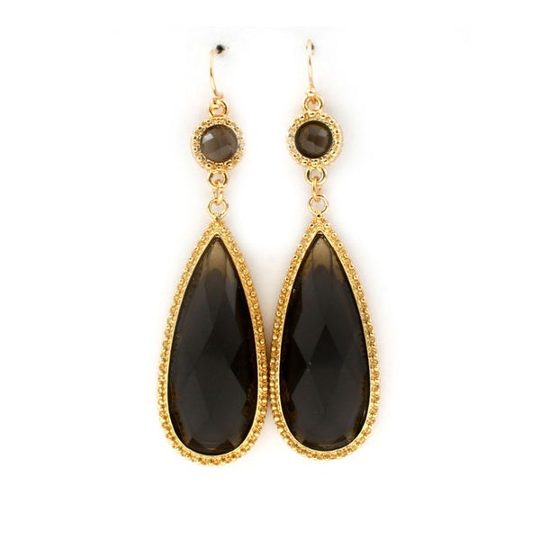Fancy Black Teardrop Earrings