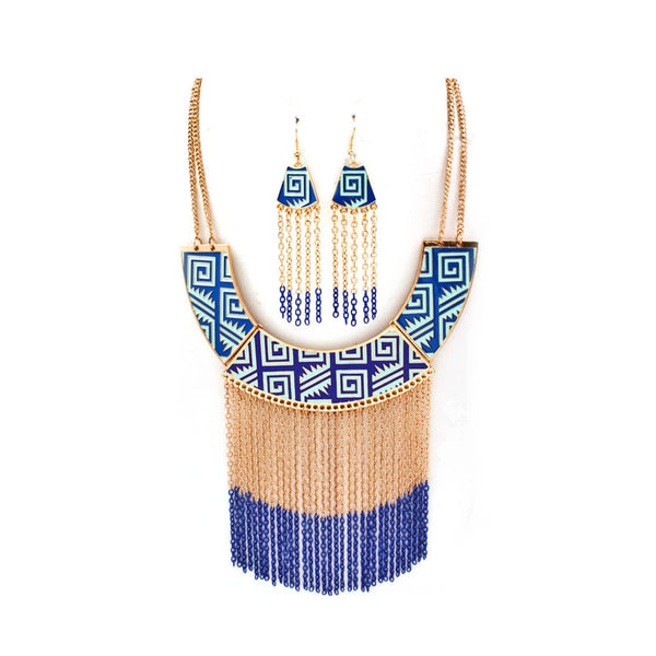 Blue Fringe & Tribal Necklace & Earring Set