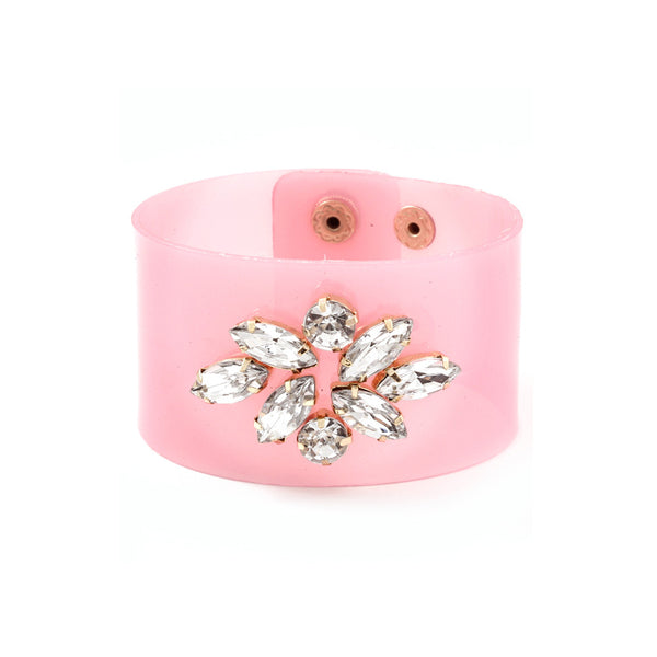 Jeweled Pink Jelly Bracelet