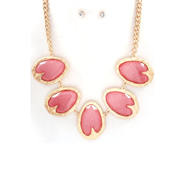 Pastel Pink Shimmer Necklace & Earring Set