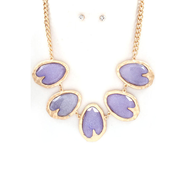 Pastel Purple Shimmer Necklace & Earring Set
