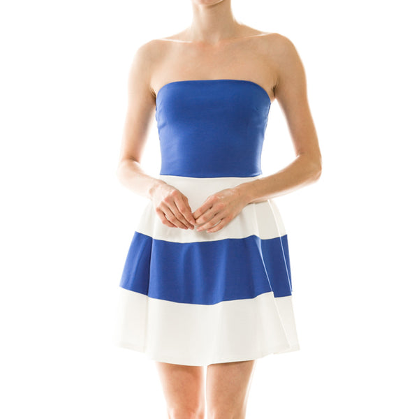 Blue & White Strapless Party Dress