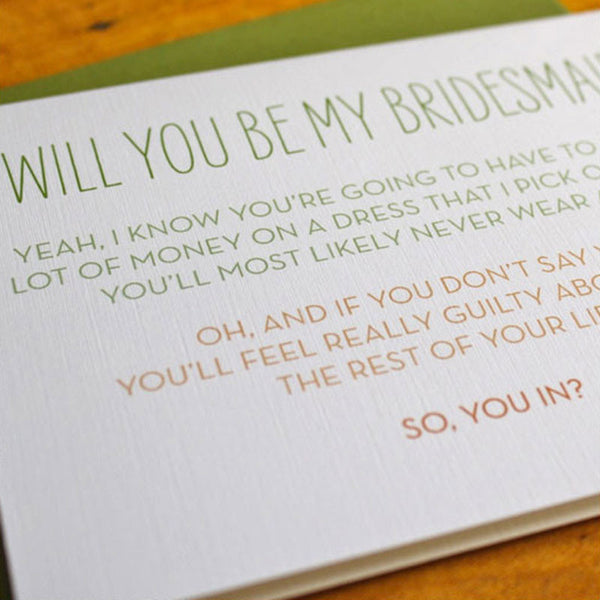 Bridesmaid Guilt Trip Card