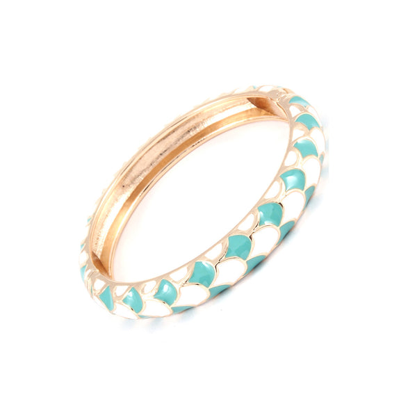 Turquoise & White Fish Scale Bangle