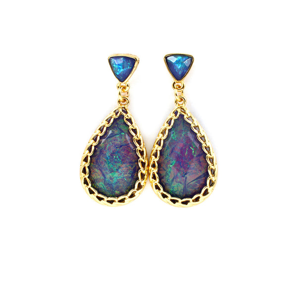 Mystic Blue Teardrop Earrings