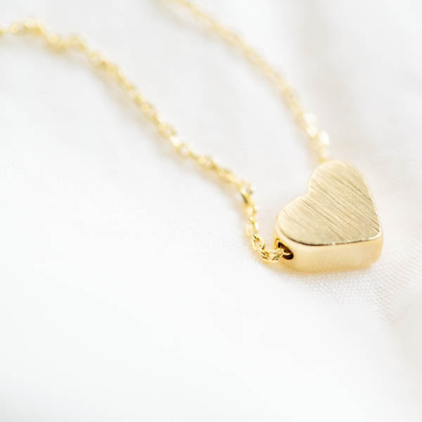 Dainty Yellow Gold Heart Pendant Necklace