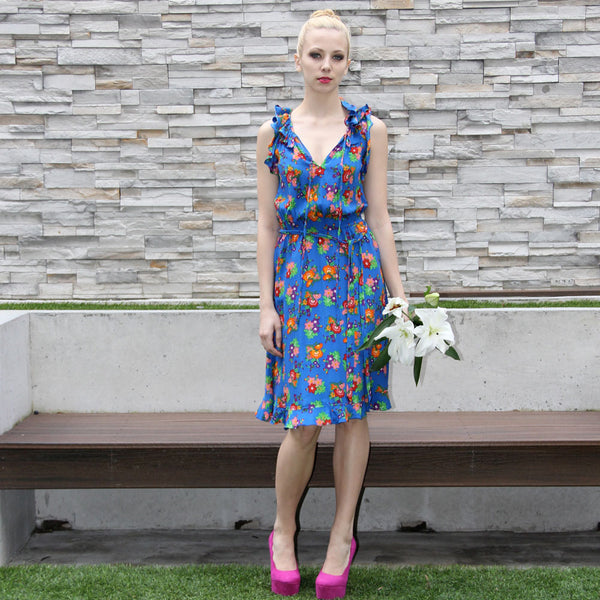 blue flower printed dress