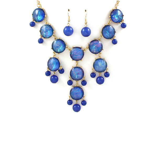 Sapphire Blue Jeweled Bib Necklace Set