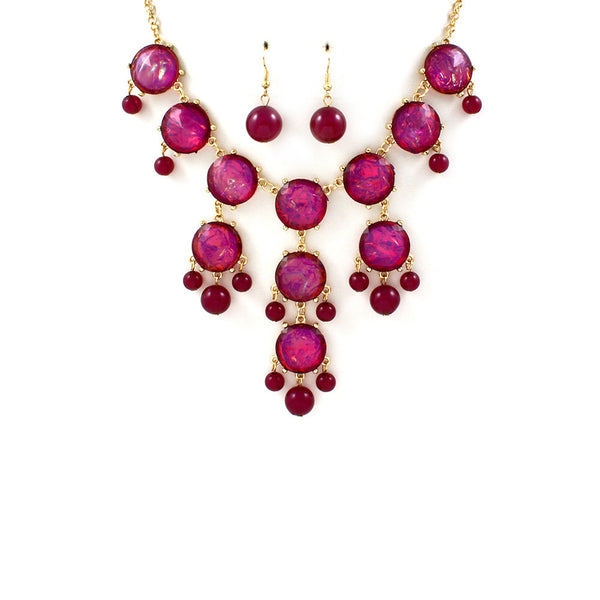 Magenta Jeweled Bib Necklace Set