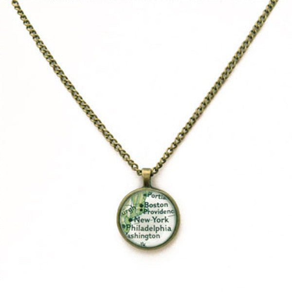 Brass & Chain Custom New York Map Necklace