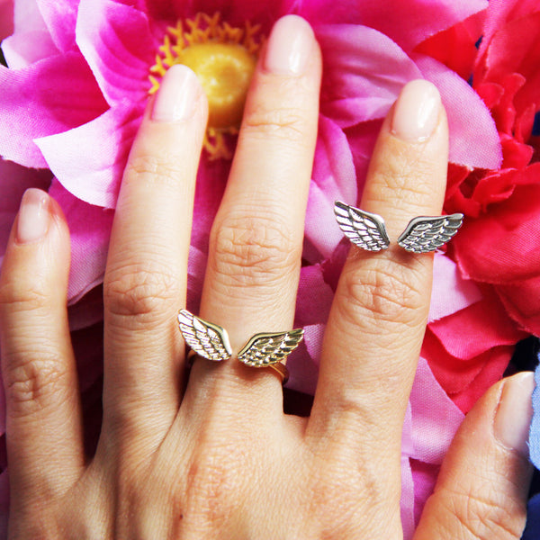 Platinum Plate Angel Wing Ring