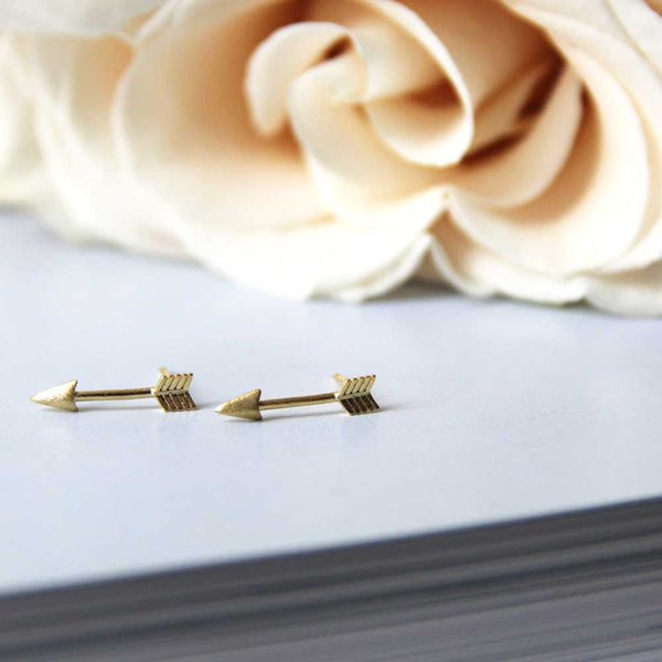Straight Shooter Stud Earrings in Gold Plate