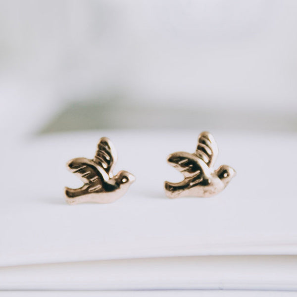 Vintage Style Bird Stud Earrings