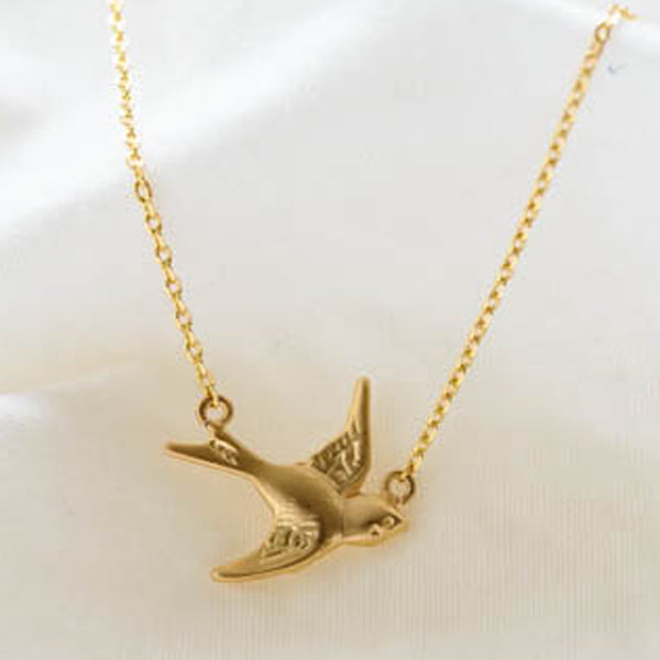 Delicate Gold-Plate Bird Pendant Necklace
