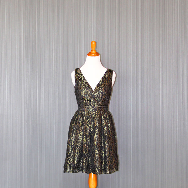Second-Hand Black & Gold Lace Party Dress