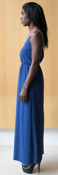 blue chain strap maxi dress
