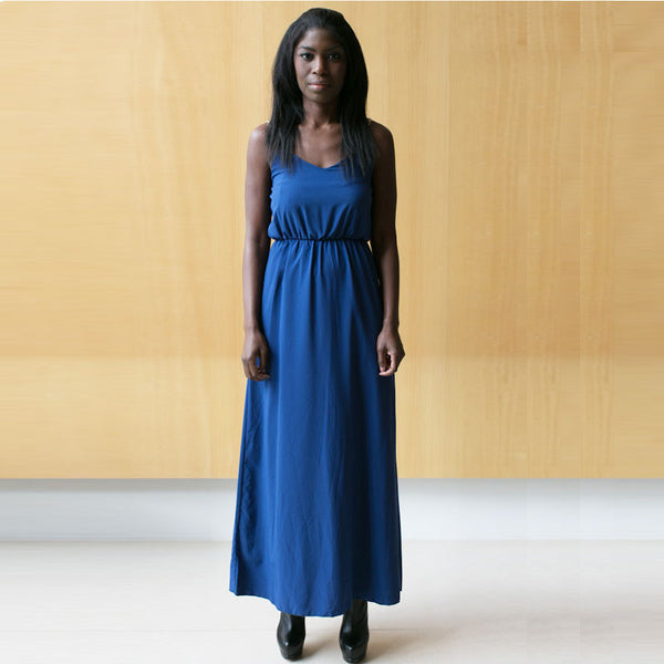 Andrea's Deep Blue Chain Strap Maxi Dress