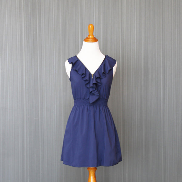 Second-Hand Dark Blue Ruffle Zipper Dress