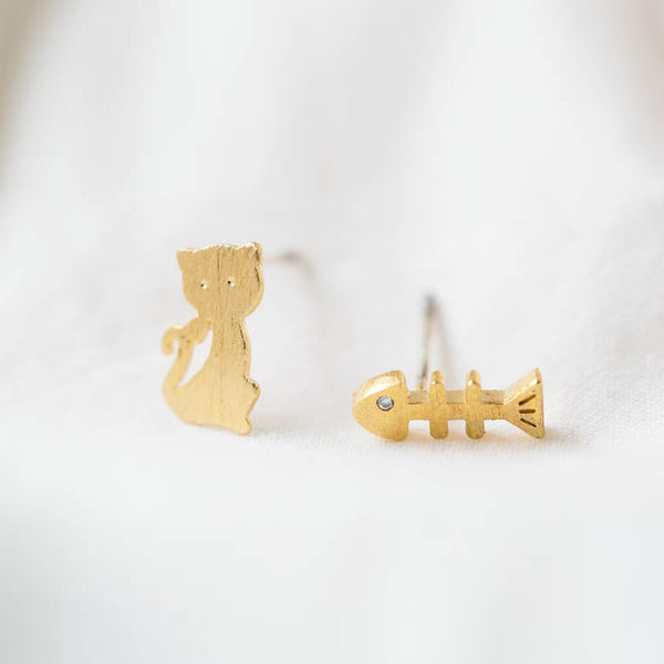 Cat and Fish Bone Stud Earrings