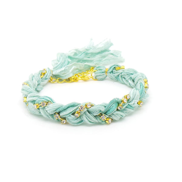 Mint Green & Crystal Friendship Bracelet