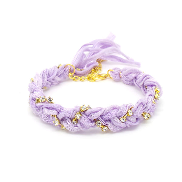 Pastel Purple & Crystal Friendship Bracelet