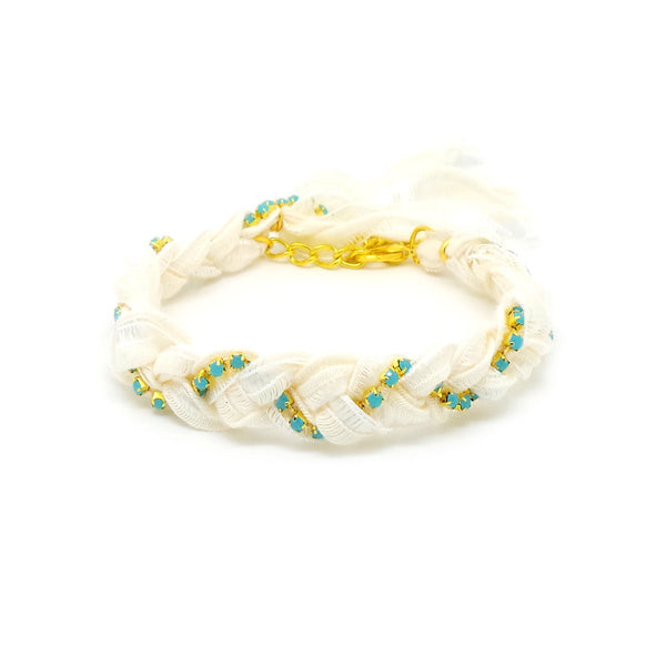 White & Turquoise Crystal Friendship Bracelet