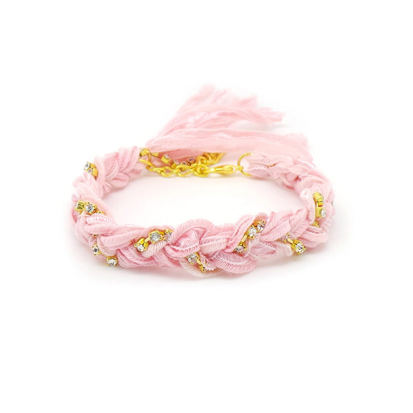 Pastel Pink & Crystal Friendship Bracelet