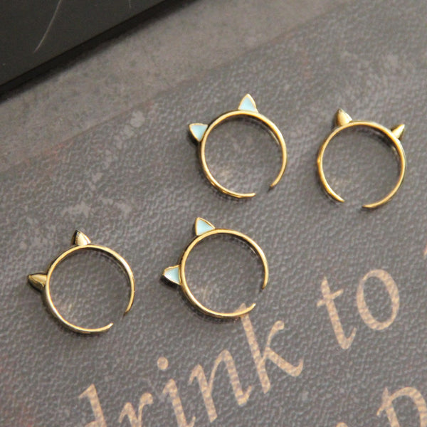 d9c61c059 Here Kitty Cat Knuckle Ring in Gold/Blue | The Alchemy Shop, LLC