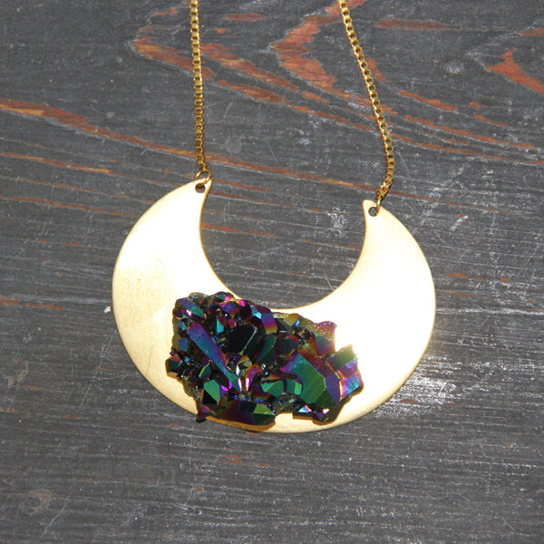 Genuine Aura Crystal Crescent Necklace