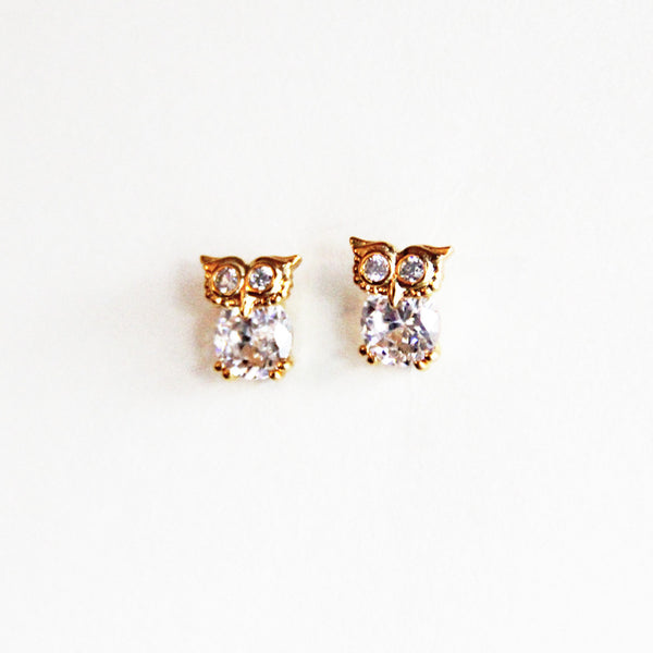 CZ Owl Stud Earrings