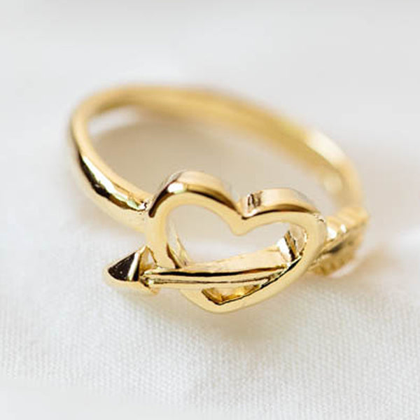 Gold Cupid Heart-Arrow Knuckle Ring